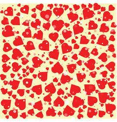 red hearts diferent size round background template vector image