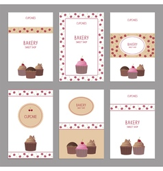 Set of bakery cards vector