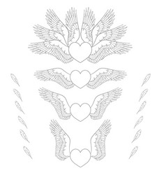 set of of hearts wings vector image vector image