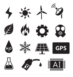 Set of power and energy system in silhouette icons vector