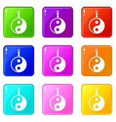 sign yin yang set 9 vector image