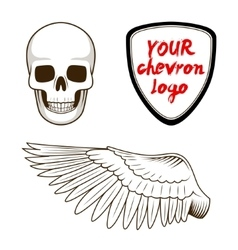 Skull wing and chevron label vector image