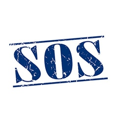 sos blue grunge vintage stamp isolated on white vector image