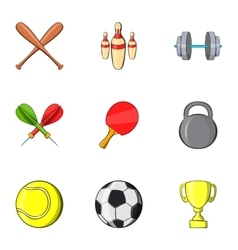 Sports stuff icons set cartoon style vector image
