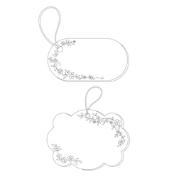 Tags with floral pattern contours vector image