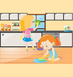 two girls cleaning kitchen and floor vector image