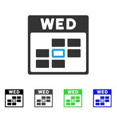 Wednesday calendar grid flat icon vector
