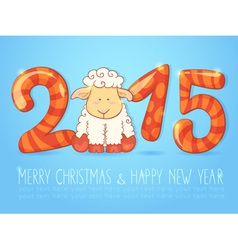 Winter chinese new year card with sheep vector image vector image