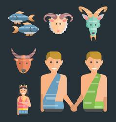Zodiac signs flat set of horoscope symbols star vector