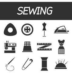 Sewing flat icon set vector