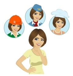 girl thinking about career options choice vector image
