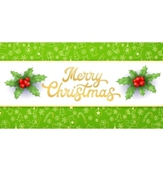 Merry christmas gold xmas lettering and holly vector