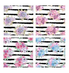 Floral seamless patterns set vector