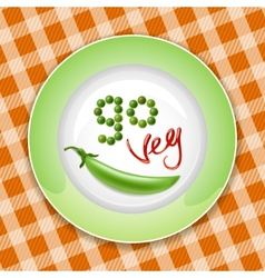 Green plate with vegetable inscription vector