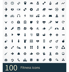 100 fitness icons set vector