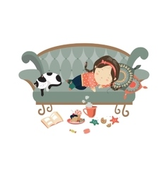 Lazy sleeping girl with cat vector image