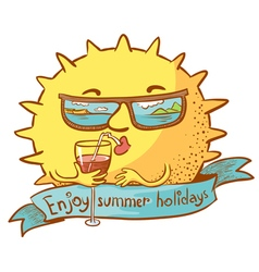 Sun character with cocktail vector