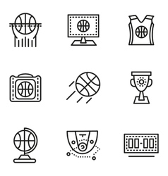 Basketball simple line icons vector