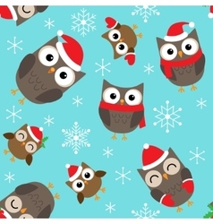 Christmas pattern with owls vector