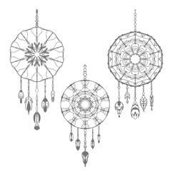 Set of three hand drawn dreamcatchers vector