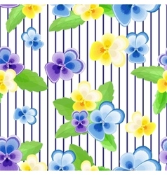 Pansies on strips background vector