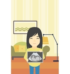 Pregnant woman with ultrasound image vector