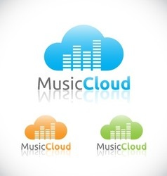Abstract audio music cloud online service logo vector image
