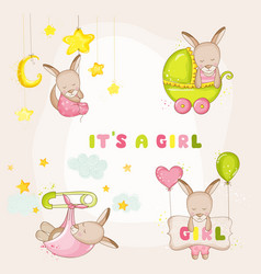 baby girl kangaroo set - for baby shower cards vector image vector image