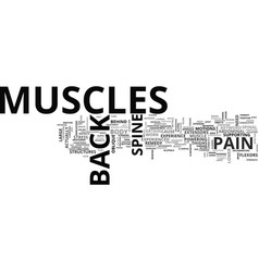 Back pain muscles text word cloud concept vector