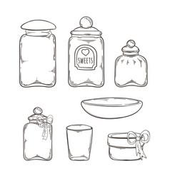 big set of handdrawn glass jars vector image