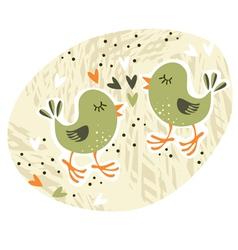 Birds love affair card vector