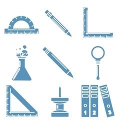 Black school goods light blue linear icons Part vector image