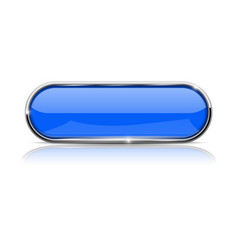 blue oval button shiny 3d icon with metal frame vector image vector image