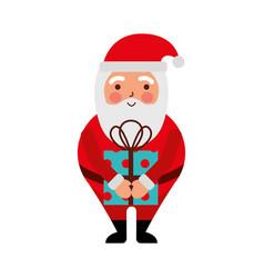 christmas happy santa claus with gift box holiday vector image vector image