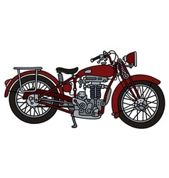 Classic red motorcycle vector image vector image