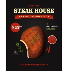 Creative steak house poster design realistic vector