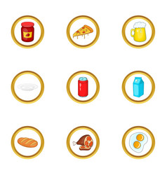 different food icons set cartoon style vector image vector image