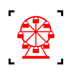 Ferris wheel sign red icon inside black vector