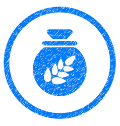 grain harvest sack rounded grainy icon vector image vector image