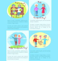 Happy grandparents senior couple daily activities vector