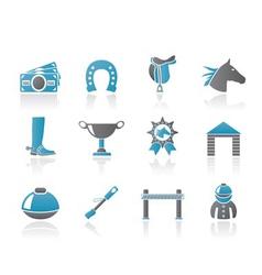 Horse racing and gambling icons vector