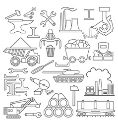 Metallurgy icon set thin line icon design vector