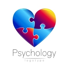 Modern logo of psychology puzzle heart vector