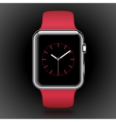 Modern shiny smart watch with red sport band vector