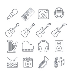 Music line icons set vector image