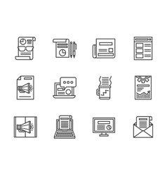 Newsletter black line icons set vector image vector image