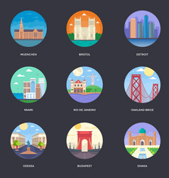 Pack of world cities 10 vector