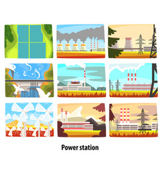 power station set ecological friendly low and vector image