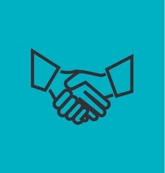 silhouette handshake blue background design vector image