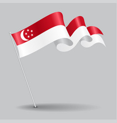 Singapore pin wavy flag vector